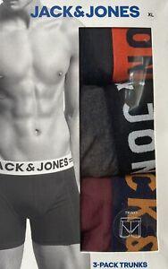 Men's Jack & Jones Size XL Burgundy Boxer Trunks 3 Pack