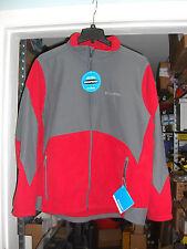 NEW COLUMBIA Men's Nordic Trekker Fleece Twill Jacket Coat Red Gray medium $160*