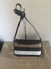 NWT Authentic Burberry Peyton House Check Black Canvas and Leather Cross Body