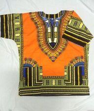 AFRICAN SHIRT DRESS MEN WOMEN HIPPIE STYLE CAFTAN UNISEX DASHIKI TRIBAL ORANGE