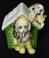 1950's Dog House Bank with Dogs on Chain Stopper intact Japan marked