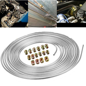 Iron Zinc Nickel Brake Line Tubing Kit 3/16 OD 25 Foot Coil Roll w/Fittings