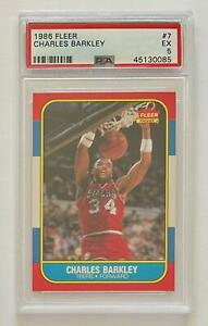 1986 Fleer Basketball #7 Charles Barkley 76ers RC Rookie HOF PSA 5 EX