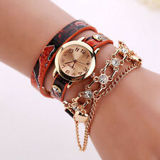 2017 Women Fashion Bracelet Rhinestone Rivet Leather Quartz Dress Watches