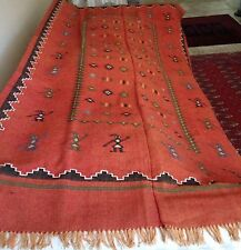 "Latin American Tribal Figures Wool Blanket   7' x 3.5'  (84"" x 42"")"
