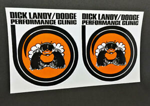 Pair of Dick Landy Dodge Performance Clinic Vintage Style DECALS, Vinyl STICKER