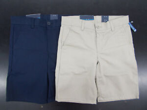 Boys Nautica $34 Uniform / Casual Navy or Khaki Shorts Husky Sizes 8H - 14H