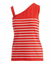 Red Sleeveless Top Size 14 Striped Asymmetrical Ladies Womens