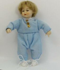 Toddler Doll Dressed HOXB500 Heidi Ott Blue White Pinstripe Dollhouse Miniature