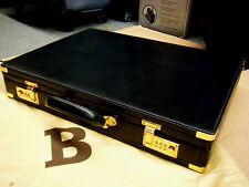 "Vintage Bally Monogram Hard Sided Brass Lock Briefcase  ITALY 18"" X 13"" X 3"""