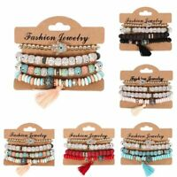 4Pcs/set Men/Women Boho Multi-layer Bracelet Natural Stone Bangle Tassel Jewelry
