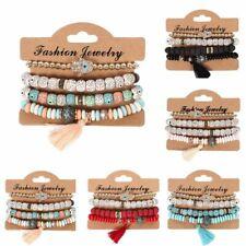 4Pcs/set Men/Women Boho Multi-layer Bracelet Natural Stone Bangle Tassel Jewelry