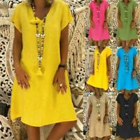 Plus Size Womens Cotton Summer Short Sleeve Long T-Shirt Ladies Dress US SZ Hot