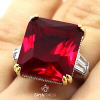 Large 6CT Princess Cut Red Ruby Ring Women Engagement Jewelry Gift White Gold