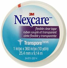 2 Pack - Nexcare Transpore Clear Tape 1in x 10 yds 1 roll Each