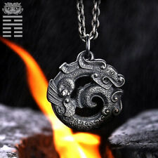Ancient Dragon Pendant Antique Chinese 925 Sterling Silver Man Necklace Jewelry