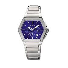Breil Mark Acciaio Esagonale Uomo Watch Man Uhr Orologio TW0658  Crono Blu Data