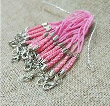 100pcs/Lot pink Mobile Cell Phone cords Strap Lariat Lanyard Lobster Clasp