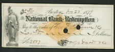 National Bank of Redemption Boston, MA check on RN-G1 paper as shown  1879 (5)