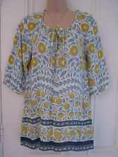 Gorgeous Monsoon size S tunic top off white with blue and mustard floral pattern
