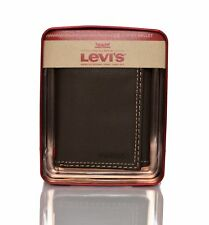 Levis Men's Leather Interior Zipper Slim Trifold Wallet BROWN with Gift Box