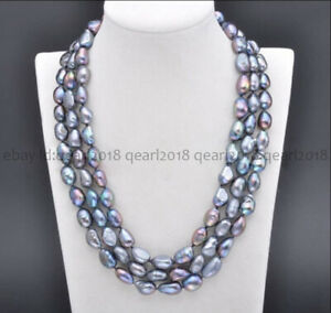 Long 48'' Genuine Natural 7-8mm Black Freshwater Baroque Pearl Necklace