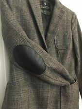 Beautiful MAISON SCOTCH Check Wool Blend Blazer Hacking Elbow Patch Size 10  2