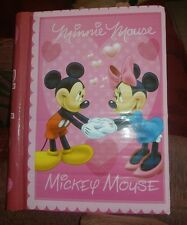 NEW Mickey & Minnie Mouse pink hearts slip-in Photo Album Disney Valentine's Day