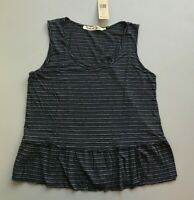 MICHAEL STARS Striped Flounce Tank One Size Women's NWT Blue Summer Basic!