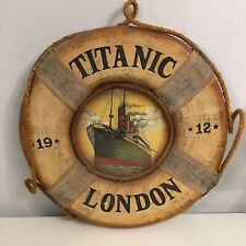 Vintage Titanic Wooden Painted Life Preserver Clock With Rope