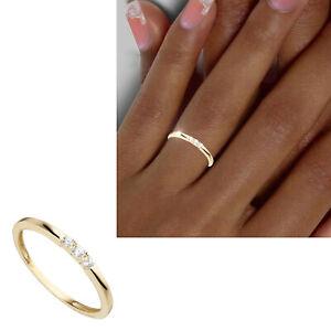 Vorsteckring 333 echt Gold Steine 8 Karat Damen Stapel Ring Gr 50 52 54 56 58 60