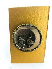 Antique Victorian Large Brass Pierrot and Pierrette Opera Button