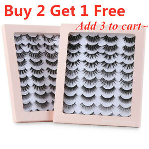 New 20 Pairs 3D Mink False Eyelashes Long Hair Bushy Eye Lashes Black Natural