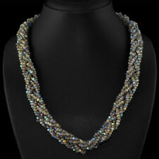 Edelsteinkette Schwarz Labradorit (Labradorite) 50cm Collier Halskette 3mm Perle