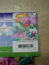 "Custom Decor Inc. Swallowtail Orchids & America USA Garden Flag 28"" x 40"" NEW"