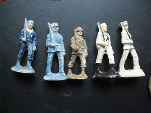 Lot of 5 Vintage 1930s Composition Toy Soldiers Navy Figures w Rifles