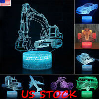 3D Racing Cars Lamp SUV Car LED Night Light 7 Colors Kids Boys Birthday Gifts US