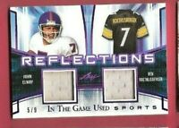 BEN ROETHLISBERGER & JOHN ELWAY GAME USED JERSEY PATCH CARD #5/9 LEAF STEELERS