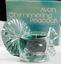 Vtg 1979 Avon Shimmering Peacock Clear Transparent Softscent Candle-Nib-Free Shi