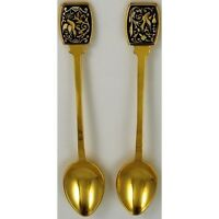 Damascene Gold Dove of Peace Decorative Collector Spoon by Midas of Toledo Spain