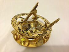 Solid Brass Nautical Marine Sundial Magnetic Compass with Leather Pouch 4 inch