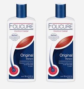 2 x folicure shampoo original control caida biotina crecimiento 700ml each