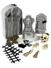 24 Piece Halloween Decorations Grave Yard Kit Tombstone Skull Bones