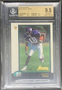 1998 Bowman #182 RANDY MOSS Vikings Rookie Football Card Graded BGS 9.5 Gem Mint