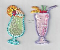 VAT Free Iron On Craft Motif Patch Craft S&W Cocktails x 2 Pink & Blue M031 New