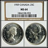 1959 Canada 25C Silver Quarter 25 Cents NGC MS64 Uncirculated BU Unc Mint Coin
