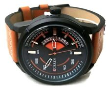 Mens Fashion Watch Curren M8259 Tan Leather Band Black Case 1atm Water Resistant