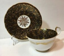 Aynsley bone china tea cup & saucer, black/ gold, mint condition