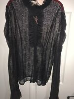 Women's Victorian Steampunk Black L/S Lace Blouse Keycharm NWT Size 4XL ( 18-20)