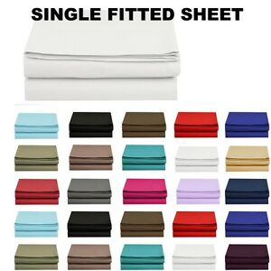 1500 Thread Count Single Fitted Sheet Top Sheet Available in 12 Colors All Sizes